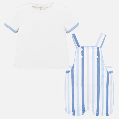 Mayoral Baby Boys Dream T-shirt and striped dungarees set SKU 1664-52 - S/S20