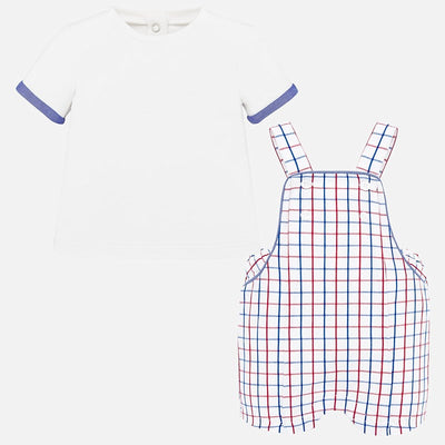 Mayoral Baby Boys Cuore  T-shirt and striped dungarees set   SKU 1664-53 - S/S20