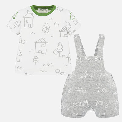 Mayoral Baby Boys T-shirt and patterned dungaree set SKU 1665-48  - S/S20