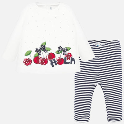 Mayoral Baby Girls Navy T-shirt and striped leggings set  SKU 1712-41- S/S20