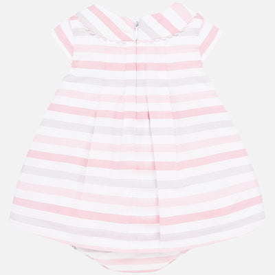 Mayoral Baby Girls Pink Striped Dress with Knickers
