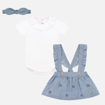 Mayoral Baby Girls Skirt with braces and headband set  SKU 1863-94 - S/S20