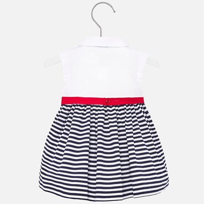 Mayoral Baby Girls Combined striped dress with bow SKU 1915-41- S/S20