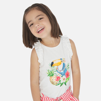 Mayoral Girls white Sleeveless t-shirt with toucan print SKU- 3025-18 - S/S2O