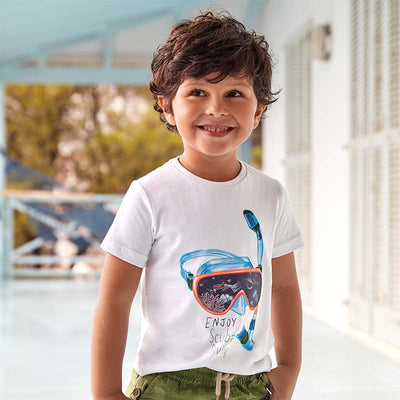 Mayoral Boys White Short sleeved snorkel t-shirt    SKU  3070-66  S/S2O