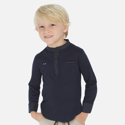 Mayoral Boys Ocean Long sleeved linen t-shirt  SKU  3073-29  S/S2O