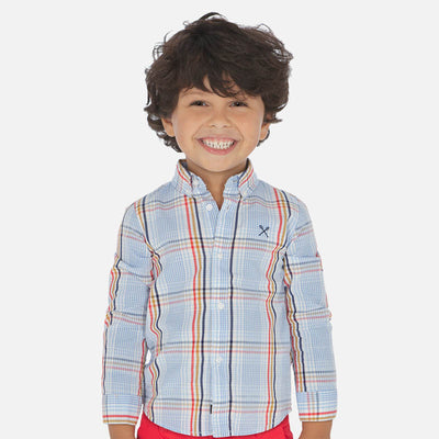 Mayoral Boys Long sleeved checked shirt   SKU-  3172-71  - S/S2O