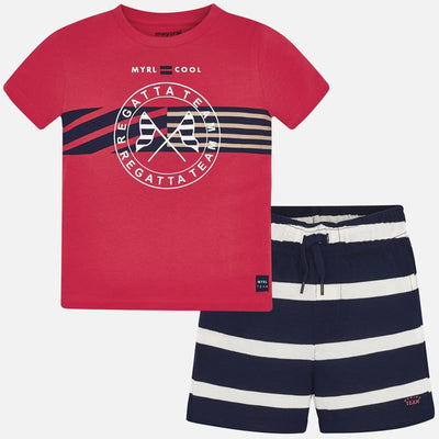 Mayoral Boy T-shirt and striped shorts set