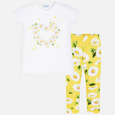 Mayoral Girls Daisies T-shirt and patterned leggings set SKU- 3725-42- S/S2O