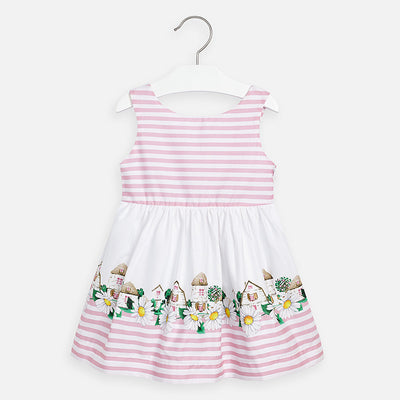 Mayoral Girls Dress with striped body  SKU- 3941-56   S/S2O