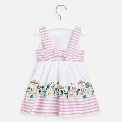 Mayoral Girls Striped Dress with Flower Detail