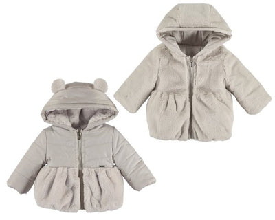 Mayoral Baby Girls Beige Reversible Fur Jacket SKU 2433-69