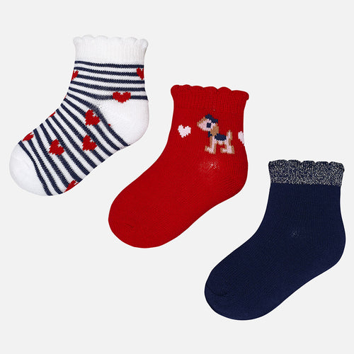 Mayoral set of 3 pairs of red cotton socks