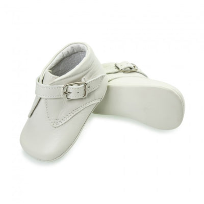Baby Boys Cream Leather Soft Sole Buckle Boot