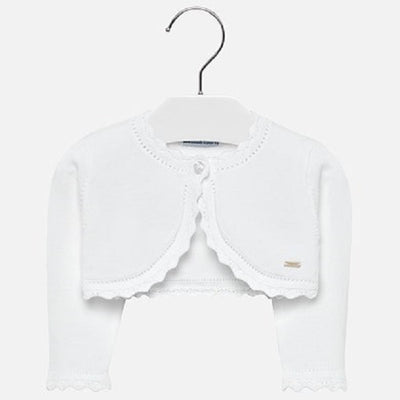 Mayoral Baby Girl White Basic Knitted Cardigan- SKU - 306-27
