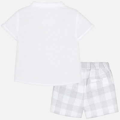 Mayoral Baby Boys Silver Checked Shorts - SKU -1210-34