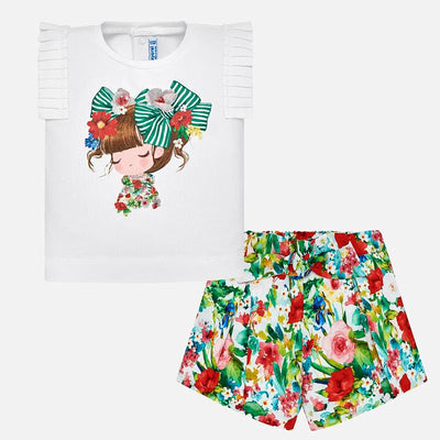 Mayoral Baby Girls Green Printed Short Set  - SKU - 1233-35