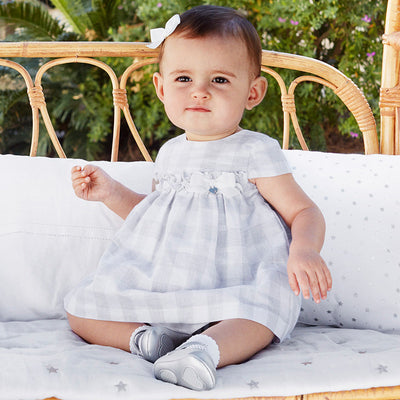 Mayoral Baby Girls Grey Linen Check Dress