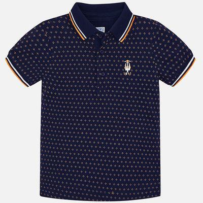 Mayoral Blue S/s Jacquard Polo Shirt - SKU - 3116-10