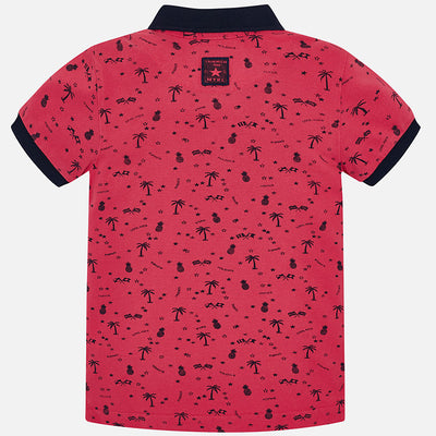 Mayoral Blackberry Red Palm Tree Polo Shirt