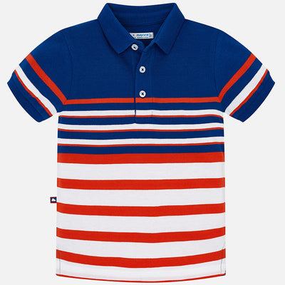 Mayoral Royal Blue Striped s/s Polo Shirt - SKU - 3121-22