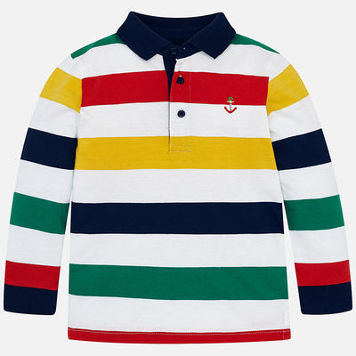 Mayoral Red Striped L/S Polo Shirt - SKU - 3124-20
