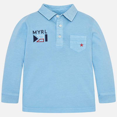 Mayoral Long sleeved washed effect polo shirt - SKU - 3127-24