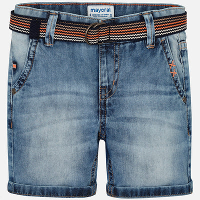 Mayoral Boys Light Basic Denim Bermuda With Belt- SKU - 3228-61