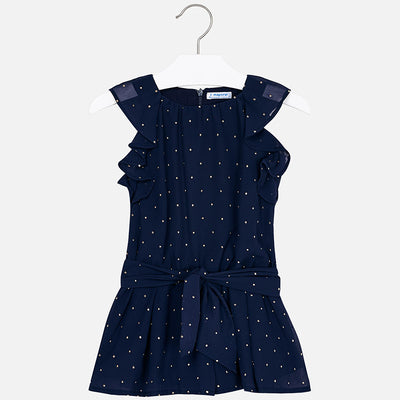 Mayoral Navy Chiffon Playsuit with Gold Detail