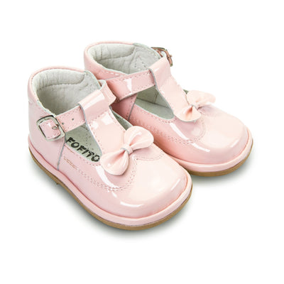 FOFITO Adriana  Baby Girls Pink Leather/Patent T-Bar with Bow  2975