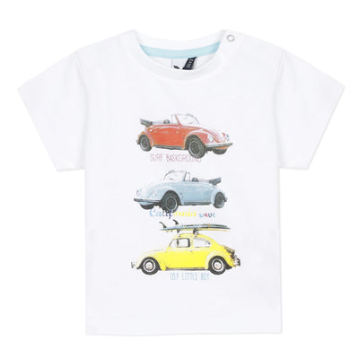 3Pommes Boys White Car T-Shirt