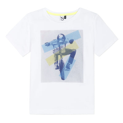 3Pommes Boys White T- Shirt   SKU  3Q10015-01  S/S20