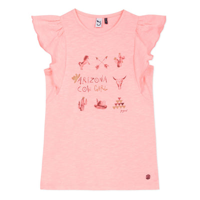 3Pommes Girls Pink Cow Girl T-Shirt