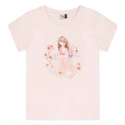 3Pommes Girls Rose Themed T-Shirt