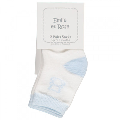 Pre Order Emile et Rose Alpine Boys Socks Twin Pack, Pale Blue and White  SKU  4620PB S/S20