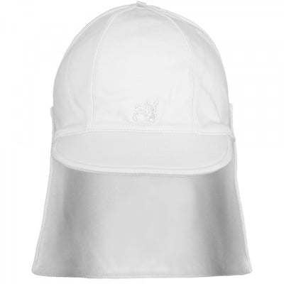 Emile et Rose Aspen White Baby Boys Sun Cap with Detachable Flap