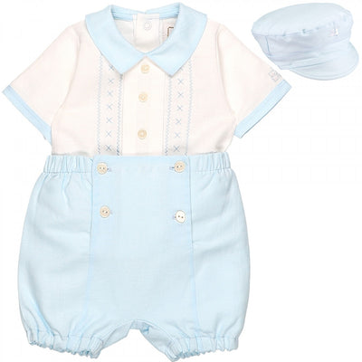 Emile et rose Blue and White Traditional Outfit with Hat