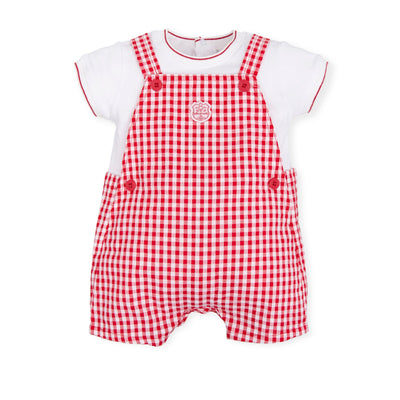 Tutto Piccolo Baby Boys Red Gingham Dungaree / Romper SKU T6292