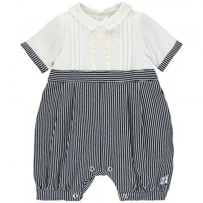 Emile et Rose Saul Navy Striped Romper  SKU 7283NV  S/S20