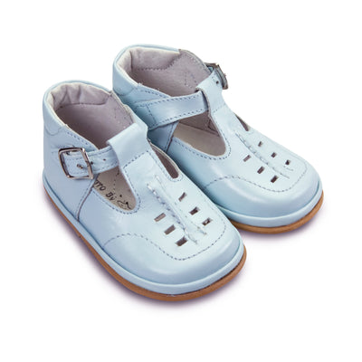 FOFITO Louis Pale Blue Baby Boys Leather T-Bar Shoe   749
