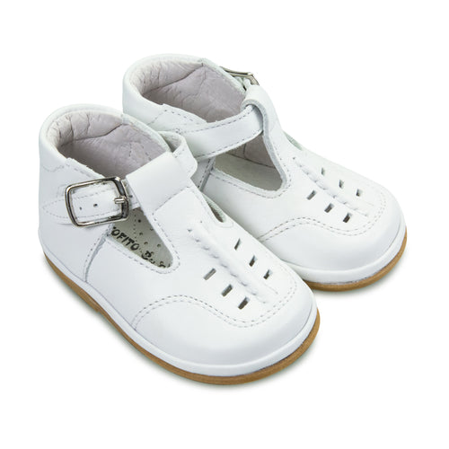 FOFITO Louis White Baby Boys Leather T-Bar Shoe   749