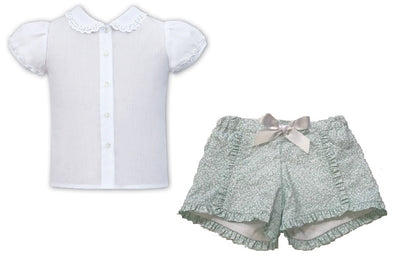 Sarah Louise White and Mint Short Set  SKU - 011598-561