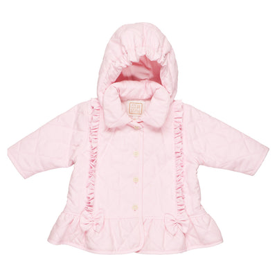 Emile et Rose Microfibre Quilted Jacket with Frills and Bows SKU 9297pp