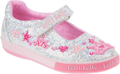 Lelli Kelly Silver Glitter Tiara Dolly Shoes