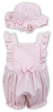 Dani White and Pink Bubble Romper / Hat SKU - D09306