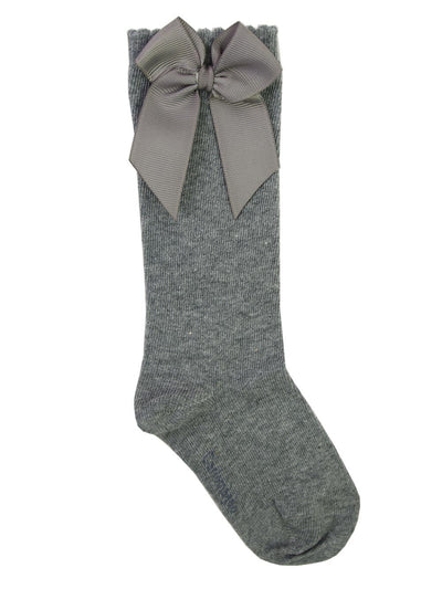 Carlomagno Light Grey High Knee Double Side Bow Sock G2