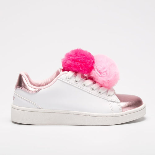 LELLI KELLY Bianco/Rosa Pom Pom Lace Up Trainer Shoes SKU LK5826