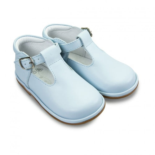 Baby Boys Pale Blue Leather T-Bar WIDER FITTING