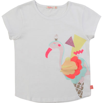 Pre Order Billieblush Girls White Flamingo T-Shirt   SKU   U15720-10   S/S20