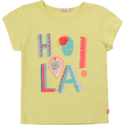 Billieblush Girls Cotton Yellow HOLA T-Shirt
